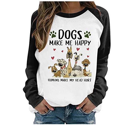 skiyy Sudaderas Mujer Camiseta de Manga Larga con Estampado de Perro Camisas Casuales con Cuello Redondo Tops Blusa 2021 (Negro, M)