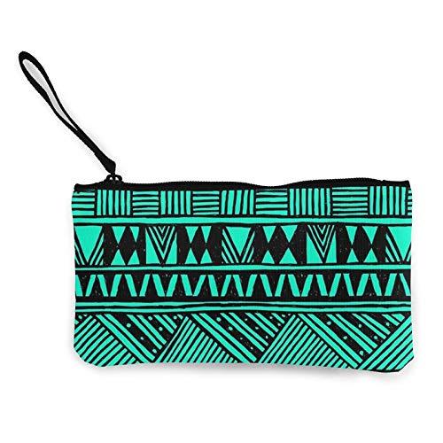 Moneda de lona, lindo monedero tribal azteca con cremallera, bolsa de cosméticos de viaje multifunción para teléfono móvil, bolsa con asa