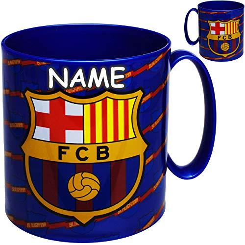 alles-meine.de GmbH großer - Trinkbecher / Henkeltasse - Fußball - FC Barcelona - FCB - inkl. Name - 350 ml - BPA frei - Mikrowellen geeignet - Kunststoff Plastik - Trinklerntas..