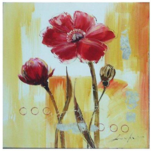 Mendola Art da 218opd964b Dipinto a Mano Rosso Chrysantemum, 40x 40cm