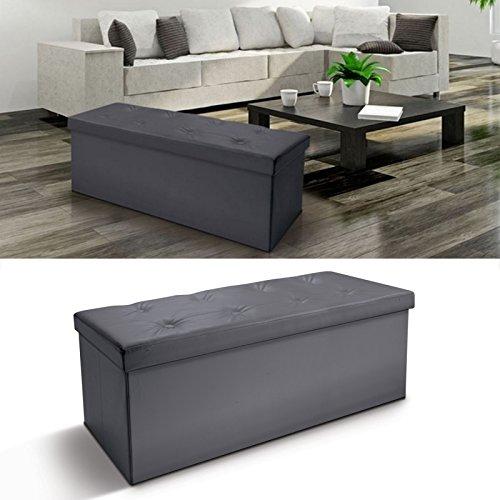 ProBache - Banc coffre rangement PVC gris 100x38x38 cm pliable