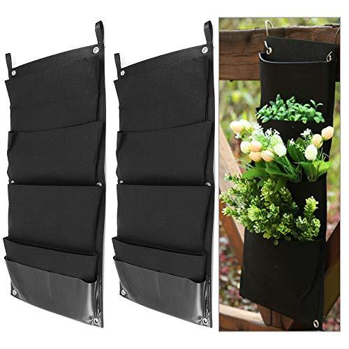 Bolsas de siembra Colgante de Pared 2 Piezas 4 Bolsillos Bolsas de Cultivo de siembra Vertical para decoración de Jardines