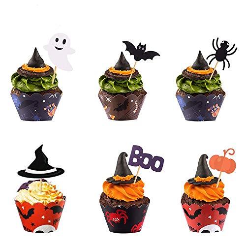 Henan 48 Stück Halloween Cupcake Toppers, Halloween Papier Cupcake Topper, Weit Verbreitet Zum Platzieren Von Kuchen, Cupcakes, Muffins, Keksen Usw