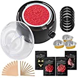 Waxing Kit with Digital Wax Warmer, 4 Bags of Stripless Hard Wax Beans for Hair Removal, 30 Applicators for Full Body, Face, Bikini, Brazilian for Women, Safe for Sensitive Skin, Get Smooth Sexy Skin