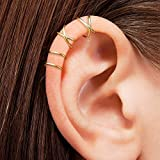 2 Pairs No Piercing Earcuff, Gold Plated Fake Helix Ear Cuff Cartilage Earring-Sterling 925 Silver, Gold