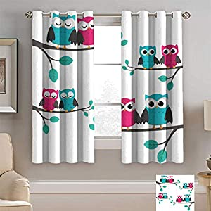Alexdemo Nursery Blackout Curtains, Couples of Owls Sitting on Spring Branches Cute Funny Cartoon Characters Window Draperies for Living Room Bedroom 2 Panels Set Turquoise Blue Pink
