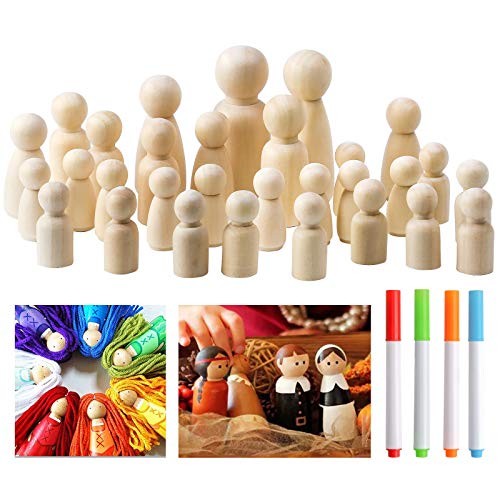 30Stück Holz Peg Dolls Unvollendete Menschen + 4Stück Farbige Gouache Figuren Holzfiguren Unfertige natürliche Holzpflock Menschen Natürliche unfertige Menschen für Kinder Kunst Kreatives DIY-Handwerk
