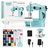 Magicfly Mini Sewing Machine with Extension Table, Dual Speed Portable Sewing Machine for Beginner with Light, Sewing Kit for Kids, Household, Blue (Renewed)