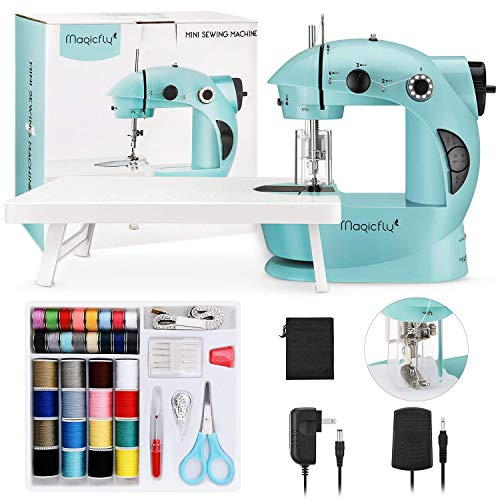 Adjustable 2-Speed Foot Pedal Power Adaptor with Full 32 Pack FLYMAN Upgraded Superior Quality Mini Sewing Machine for Home Sewing with Extension Table