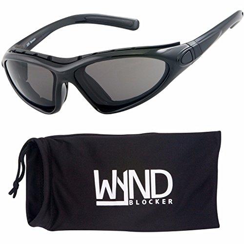 WYND Blocker Vert Motorcycle & Boating Sports Wrap Around Polarized Sunglasses (Black/Smoke Lens)