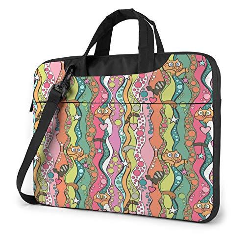 Cats, Stars, Hearts Laptop Shoulder Messenger Bag,Laptop Shoulder Bag Carrying Case with Handle Laptop Case Laptop Briefcase 15.6 Inch Fits 14 15 15.6 inch Netbook/Laptop