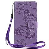 Yiizy Handyhüllen für LG K50 / LG Q60 Ledertasche, 3D Schmetterling Stil Lederhülle Brieftasche Schutzhülle für LG K12 Max hülle Silikon Cover mit Magnetverschluss Kartenfächer (Violett)