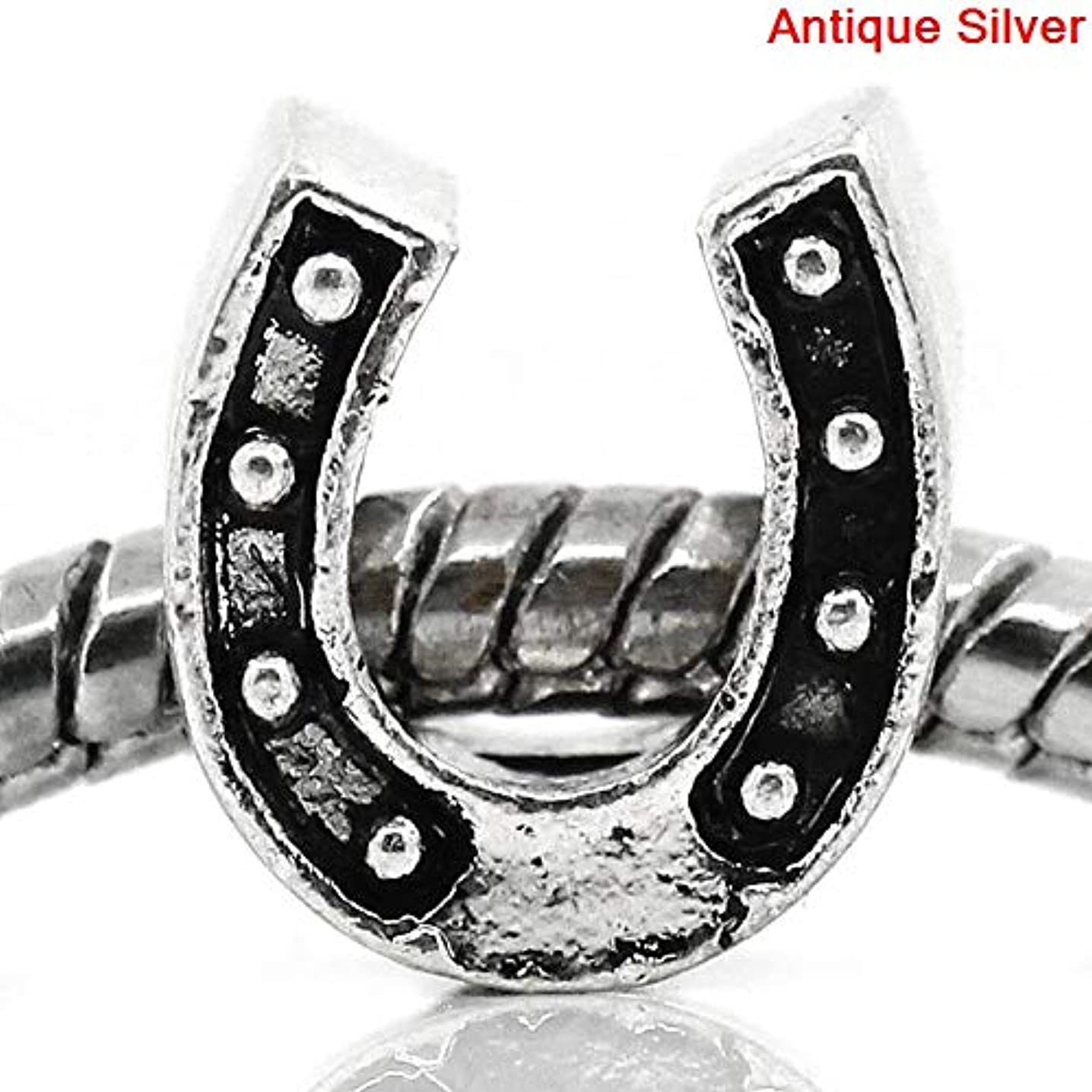 PEPPERLONELY 20pc Antiqued Silver Alloy Large Hole Beads Horseshoes Charms Pendants 11x10mm (3/8