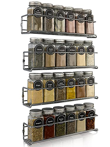Premium Spice Rack Organizer for Cabinets or Wall Mounts - Space Saving Set of 4 Hanging Racks - Perfect Seasoning Organizer For Your Kitchen Cabinet, Cupboard or Pantry Door