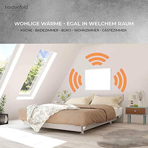Heidenfeld Infrarotheizung HF-HP100 600 Watt Weiß + Steckdosenthermostat HF-DT100-10 Jahre Garantie - Deutsche Qualitätsmarke - TÜV GS - Für 8-16 m² Räume (HF-HP100 600 Watt)