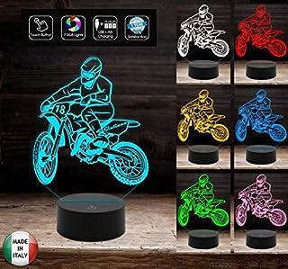 LAMPADA a led 7 colori selezionabili Motocicletta MOTOCROSS Idea regalo originale personalizzabile con nome e numero