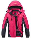 Wantdo Women's Waterproof Mountain Jacket Fleece Ski Jacket US S Rose Red Small