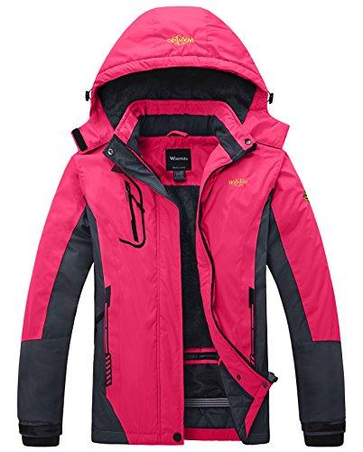 Wantdo Women's Mountain Waterproof Fleece Ski Jacket Windproof Rain Jacket, XX-Large, Rose Red