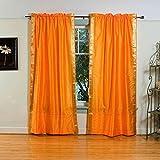 Pumpkin 84-inch Rod Pocket Sheer Sari Curtain Panel (India) - Piece