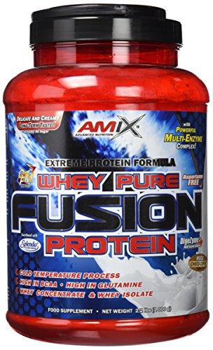 AMIX, Proteína Whey, Pure Fusión, Concentrado de Suero Ultra Filtrado, Sabor moca, chocolate y café, Proteínas para Aumentar Masa Muscula, Proteína Isolada con Splenda, Contiene L-glutamina , 1 Kg