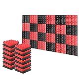 スーパーダッシュ 新しい24ピース 250 x 250 x 50 mm ピラミッド 吸音材 防音 吸音材質ポリウレタン SD1034 (黒と赤)