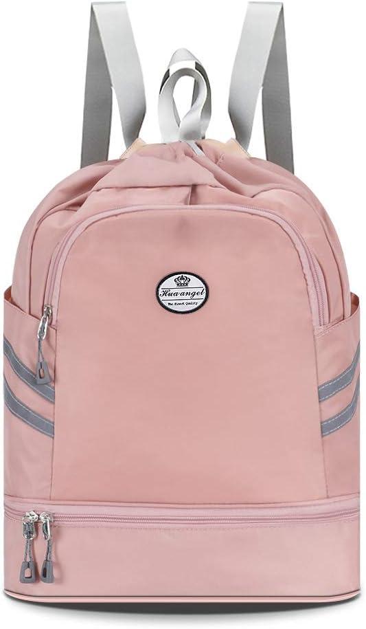 HUA ANGEL Gym Drawstring Backpack Sackpack-Waterproof Travel Hiking Swim Sports Bag