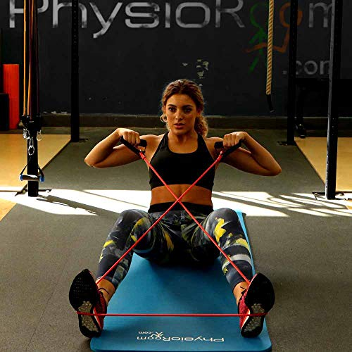 PhysioRoom Fitness Resistance Exercise Tube - Soft Grip Handles - Rehabilitation, Sports Training, Strengthening Exercise and More - (x1)