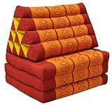 Wifash Thai colchón 3 pliegues con cojín triángulo, playa, piscina, jardín, rojo/naranja (81003)