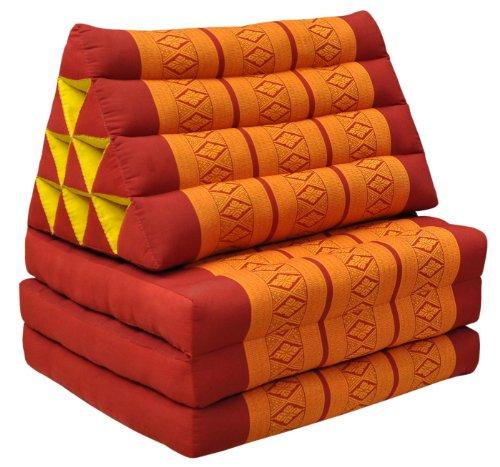 Wilai Kapok Thaikissen, Dreieck mit DREI Auflagen (81003 - rot/orange)