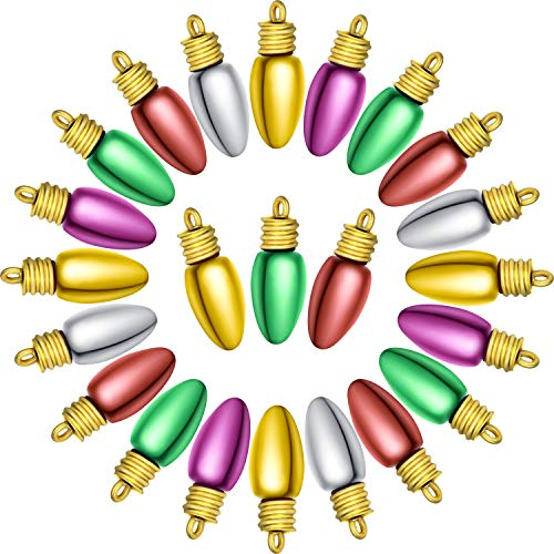 Christmas Plastic Bulb Beads Christmas Tree and Garland Bulbs Beads Assorted Colors Mini Plastic Light Bulb Beads Christmas Decorative Ornaments for Parties Craft Projects, No Electricity
