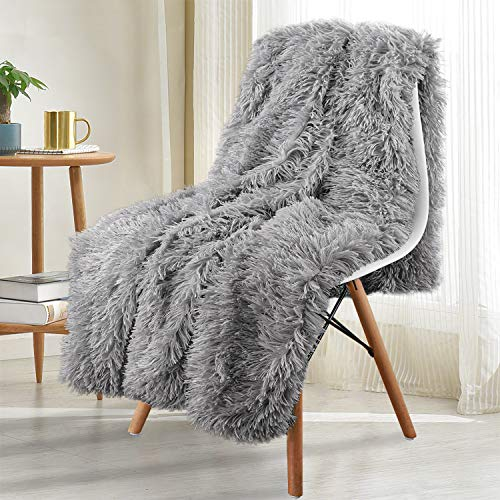 Noahas Shaggy Longfur Throw Blanket with Sherpa Warm Underside Super Soft Cozy Large Plush Fuzzy Faux Fur Blanket Washable Couch or Bed Throws Christmas Decorative Gift Ideal 50x60 Grey