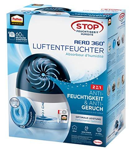 Pattex AERO 360º Luftentfeuchter, ultra-absorbierender Raumentfeuchter, hilft Kondenswasser, Schimmel- und Modergeruch zu vermeiden, nachfüllbarer Raumluftentfeuchter, 1 Gerät inkl. 1 Nachfülltab 450g
