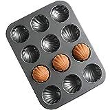 Teglia da forno a 6 fori, rivestimento antiaderente, a forma di conchiglia, in acciaio al carbonio pesante da cucina, per cupcake, pane di mais, biscotti, nero