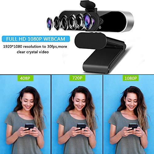 1080p Webcam mit Mikrofon, 360 Grad drehbar, USB-Webcam Plug & Play für Computer-Kamera mit 110 Grad Weitwinkel, für Desktop, Laptop, Videoanrufe, Aufnahmen, Konferenzen