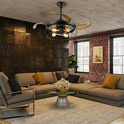 Ventilador de techo con luces de 42 pulgadas, lámpara industrial con mando a distancia, lámpara con 3 velocidades, 4 cuchillas retráctiles, lámpara para oficina, dormitorio