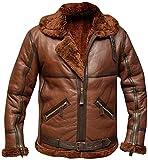 HiFacon Chaqueta de piel de oveja aviador marrón RAF, británica, de la Segunda Guerra Mundial de Bomber de piel sintética de piel de oveja - Chaqueta de cuero para hombre