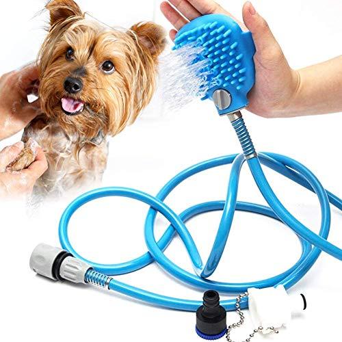 Emoly Pet Shower Kit, 2 in 1 Pet Bathing Tool Shower Sprayer, Adjustable Bath Glove, Cleaning Massage Shower Bath Tub \u0026amp; Outdoor Garden Hose Compatible for All Types of Pets - Blue