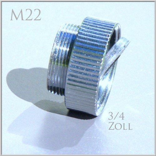 3/4 Zoll IG x M22 AG, chrom, Gewinde Adapter M22 AG Außengewinde auf 3/4