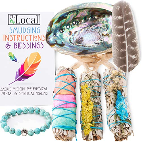 JL Local 3 White Sage Fire Flowers Smudging Kit | Smudge Kit with Abalone Shell, Stand, Instructions, Blessings & Turquoise Bracelet