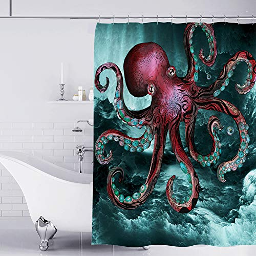 Muuyi Octopus Shower Curtain for Bathroom, Ocean Shower...