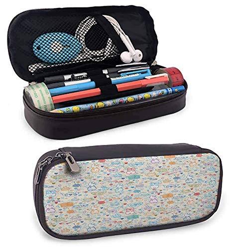 XCNGG Patrón de bolsa de lápices para fiestas de té con lindas cosas de pasatiempo, conejito de bebé, vasos de té, bolas de hilo y agujas para estudiantes y artistas, 8 'x3.5' x1.5 'multicolor
