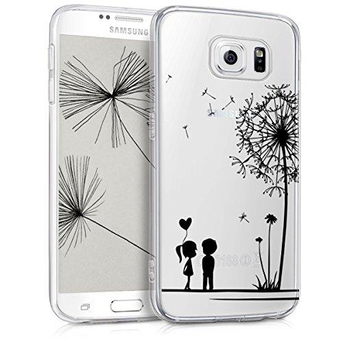 kwmobile Hülle kompatibel mit Samsung Galaxy S6 / S6 Duos - Handyhülle - Handy Case Pusteblume Love Schwarz Transparent