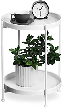 White End Table Living Room, Modern Side Table Anti-Rust and Waterproof Outdoor/Indoor Snack Table