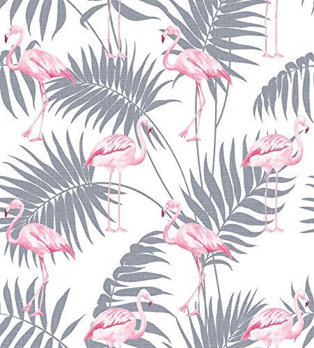 Centesimo Web Shop Maxi Telo Arredo Copritutto 7 Misure Copridivano Foulard Multiuso Foliage Foglie Esotico Flamingo Palme Grigio - Rosa - 220x290 cm