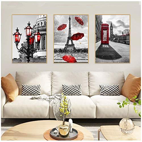 Zwart-wit toren rode paraplu canvas schilderij parijs straat muur poster prints decoratieve foto woonkamer-50x70cmx3pcs-geen frame