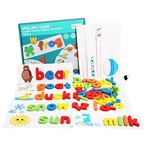 See and Spell Learning Toys Sight Words Games Matching Letter Puzzles Montessori Preschool Educational Toys for Kids Boys Girls Age 3+ Years Old (28 Flash Cards and 52 Wooden Alphabet Blocks) (A)