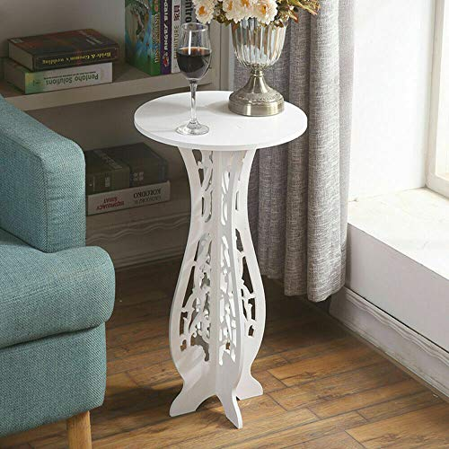 Dalkeyie White Small Coffee Table, Round Small Coffee Tea Corner Table(Plant Stand, Coffee Table), Side End Table - 43.5X26X25cm