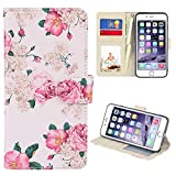 UrSpeedtekLive iPhone 6s Case, iPhone 6 Case, Premium PU Leather Funny Pattern Flip Wallet Case Cover w/Card Slots & Stand Compatible iPhone 6/6s 4.7 Inch, Flower 2
