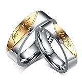 Bishilin Edelstahl Forever Love Trauringe Sets Für Herren und Damen Vergoldet Damen Größe 57 (18.1) & Herren Größe 62 (19.7)