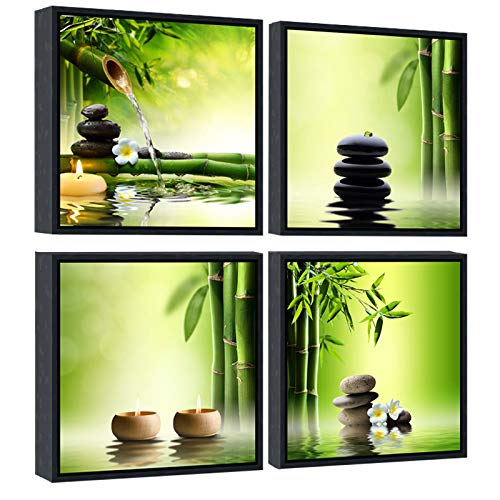 Pyradecor Modern 4 Panels Framed Contemporary Zen Giclee Canvas Prints Perfect Bamboo Green Pictures...